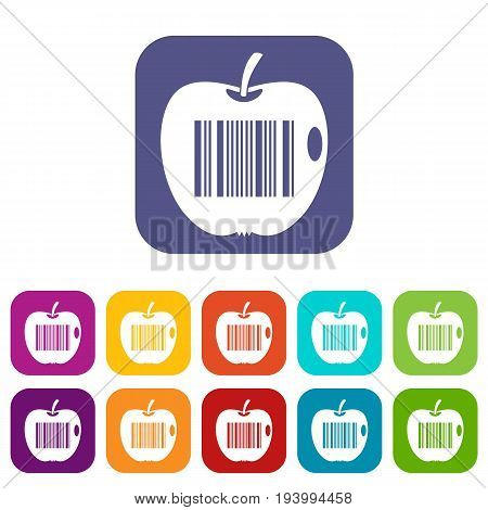 Code to represent product identification icons set vector illustration in flat style In colors red, blue, green and other