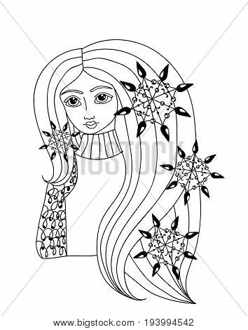 Portrait of a beautiful girl with long hair and snowflake. Mono color black line art element girl for adult coloring book page design.