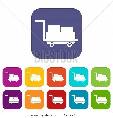 Cart with luggage icons set vector illustration in flat style In colors red, blue, green and other