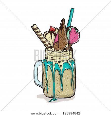 cartoon Style Milkshake with waffles strawberries and ice cream. Hand Drawn Creative Dessert isolated. Vector illustration.