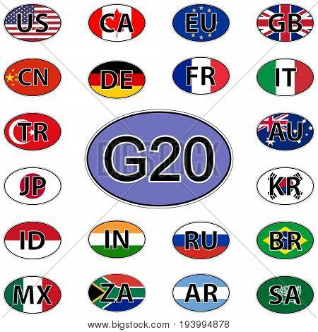 Set oval stickers flags of the G20, vector countries of the big twenty G20 Summit 2017 Hamburg