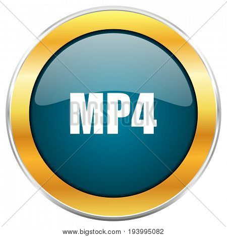 MP4 blue glossy round icon with golden chrome metallic border isolated on white background for web and mobile apps designers.