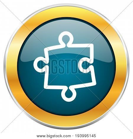 Puzzle blue glossy round icon with golden chrome metallic border isolated on white background for web and mobile apps designers.
