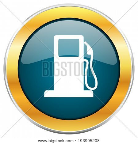 Petrol blue glossy round icon with golden chrome metallic border isolated on white background for web and mobile apps designers.