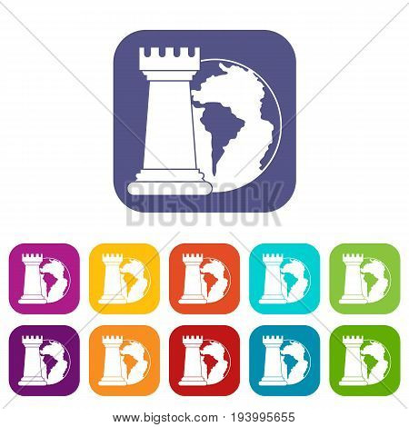 World planet and chess rook icons set vector illustration in flat style In colors red, blue, green and other