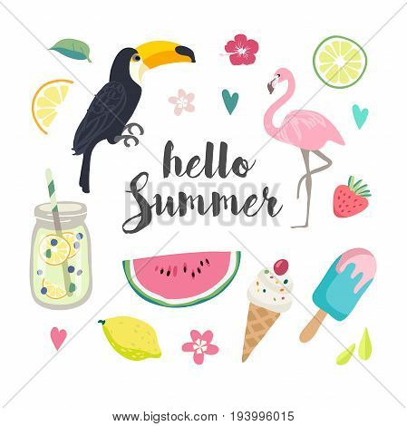 Set of cute summer icons: food, drinks, fruits and flamingo. Bright summertime poster.