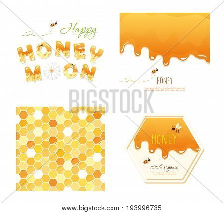 Honeycomb seamless pattern background, melted flowing honey, honeymoon letters and other design samples. Isolated on white. vector