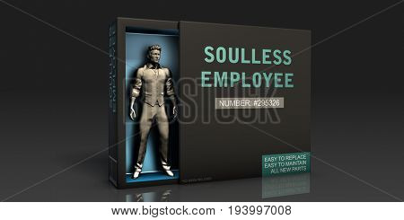 Soulless Employee Employment Problem and Workplace Issues 3D Illustration Render