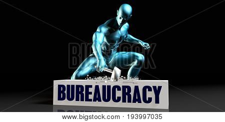 Get Rid of Bureaucracy and Remove the Problem 3D Illustration Render
