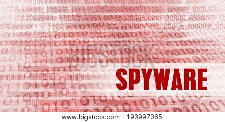 Spyware Alert on a Red Binary Danger Background