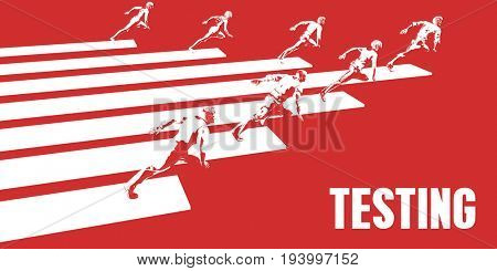 Testing with Business People Running in a Path 3D Illustration Render