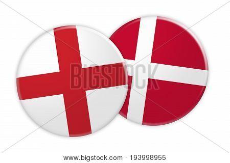 News Concept: England Flag Button On Denmark Flag Button 3d illustration on white background
