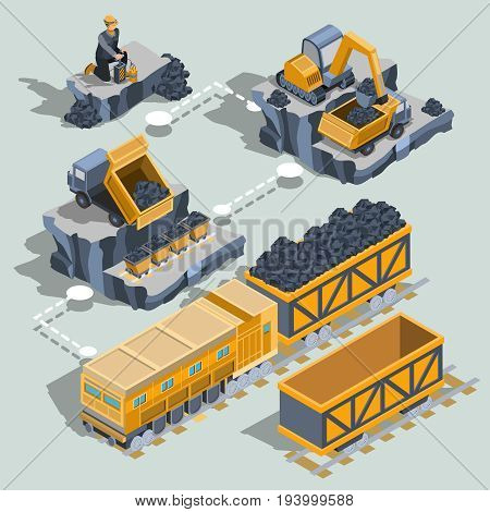 Set of isometric isolated elements, icons of the coal mining industry miner, excavator, dumper, coal trolleys, railway carriage
