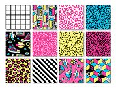 Memphis seamless patterns with geometric, animals, grid, striped and other elements for fashion, wallpapers, wrapping, etc. Background set in trendy 80s-90s memphis style. poster