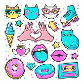 Fashion patch badges with lips, hearts, cats, stars and other elements for girls. Vector illustration isolated on white background. Set of stickers, pins, patches in cartoon 80s-90s comic style. poster