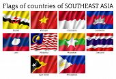 Set of waving flags of members of Asean Economic Community - AEC - Laos, Thailand and Vietnam, Malaysia and Philippines. Signs of Southeast Asia states. Vector isolated icons poster