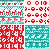 Winter pattern set, Christmas seamless design collection, ugly Xmas jumper style poster