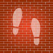 Imprint soles shoes sign. Vector. Whitish icon on brick wall as background. poster