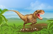 An illustration of a mean looking Tyrannosaurs Rex dinosaur in a prehistoric background poster
