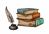 Old books stack and feather quill pen in inkwell. Vector isolated sketch symbols of retro or antique writing stationery of brown rough book with bookmark or manuscript for poetry work poster