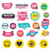 Sale shopping banners. Heart ribbon icon. Timer stopwatch symbol. Love and Heartbeat palpitation signs. Web badges, splash and stickers. Best offer. Vector poster