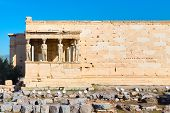 Acropolis of athens, porch of caryatids, Erechtheum Temple in Greece and blue sky poster