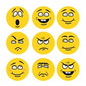 cartoon faces with expressions. Emotion set. Scared, happy, smiling, skeptical, ungry, pensive, embarrassed, upset, insidious. poster