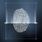 Fingerprint biometric scan for personal verification. Security vector background illustration. Verification person with fingerprint, identification finger poster