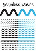 Collection of different wave isolated on white background. Vector big set of seamless wavy - curvy and zigzag - criss cross horizontal black and blue lines. Graphic design elements variation zigzag and wave line borders. Wave line for design of decorative poster