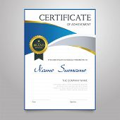 Certificate - modern vertical elegant vector document with luxury design. Diploma of achievement, appreciation with copy space for name, surname, company information. Congratulate a graduate, winner. poster
