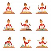 Smiling woman chef cook in white apron baking and preparing a variety of dishes, set of colorful detailed vector Illustrations isolated on white background poster