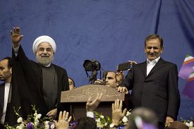 Iranian President Hassan Rouhani and first deputy Ishaq Jahangiri election rally in Tehran's Azadi Stadium, May 13, 2017.