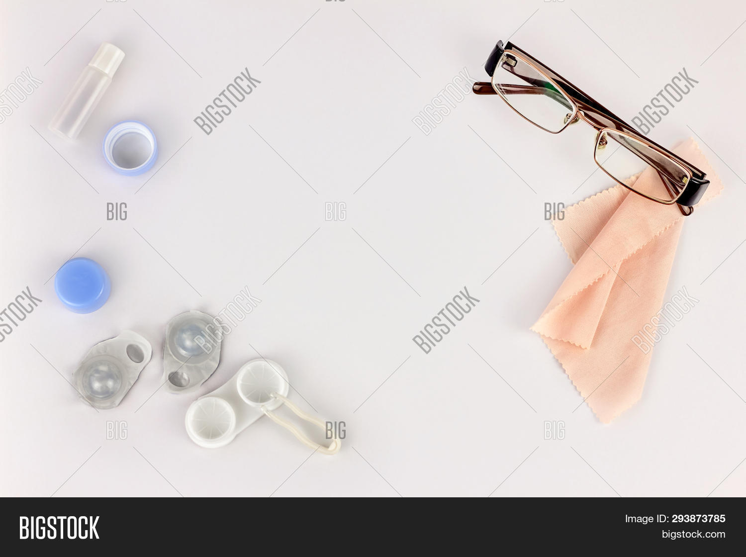 1ed9e4733dd Contact Lenses, Glasses And Accessories On White Background. Eye Health And  Care, Eyesight