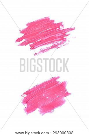 Copyspace Banner Splash Of A Wax Crayon Paint Strokes Isolated Over The White Background, Set Of Two