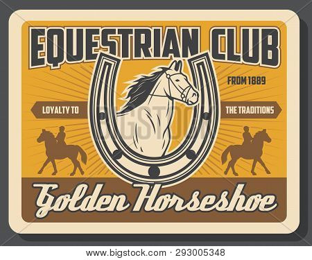 Hippodrome Riding And Horse Racing Sport Vintage Poster. Vector Equine Races Training And Jockey Pol