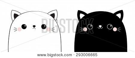 Black White Cat Head Face Line Contour Silhouette Icon Set. Pink Blush Cheeks. Funny Kawaii Smiling