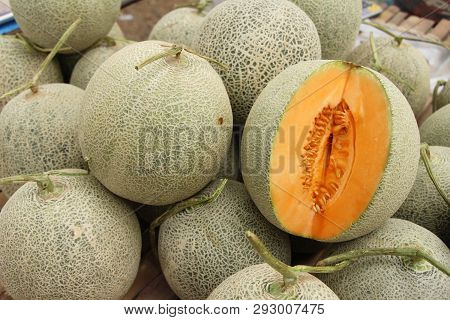 Fresh Melon Or Cantaloupe In The Market