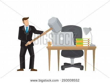 Businessman Angry With His Computer And Smashing With A Hammer. Concept Of Frustration Worker In His