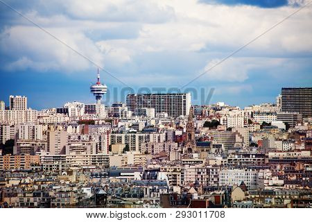 Cityscape View Of Paris Towards Romainville Tower