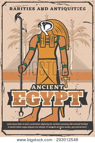 Ancient Egypt Treasure, Rarity Souvenirs And Antiquities Shop Vintage Poster. Vector Egypt Landmarks