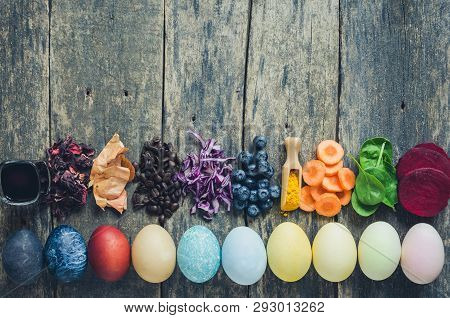 Easter Eggs Painted With Natural Egg Dye From Fruits And Vegetables. Homemade Naturally Dyed Easter