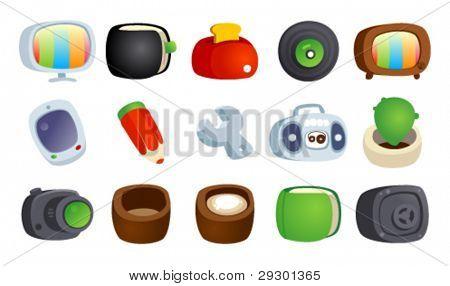 Colorful cartoon icons set.