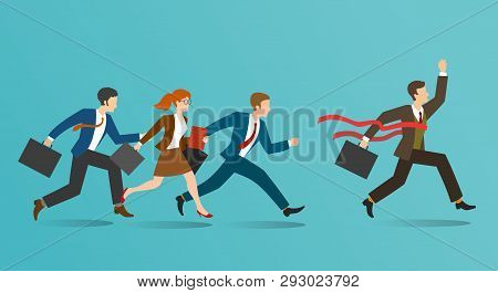 Business Race. Corporate Businessmen Running, Business People Racing, Office Human Resources Winning