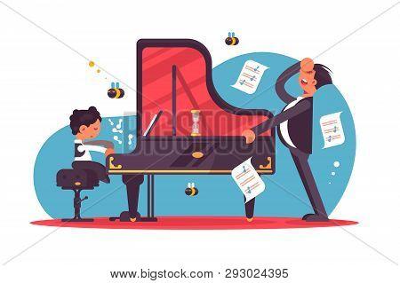 Stressed Piano Tutor Teaching Boy Vector Illustration