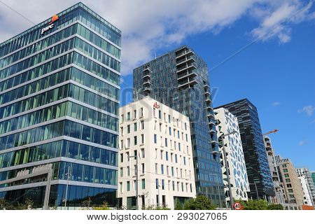 Oslo, Norway - August 2, 2015: Architecture Of Bjorvika District In Oslo. It Is A Part Fjord City, M