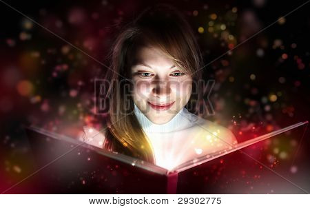 Collage of a young woman reading a magic book