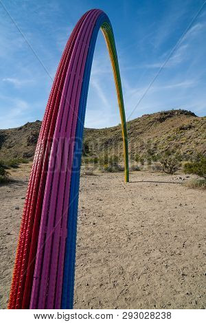 Rancho Mirage, California - March 22, 2019: Rainbow Made Of Rebar Materials In The Desert On A Sunny