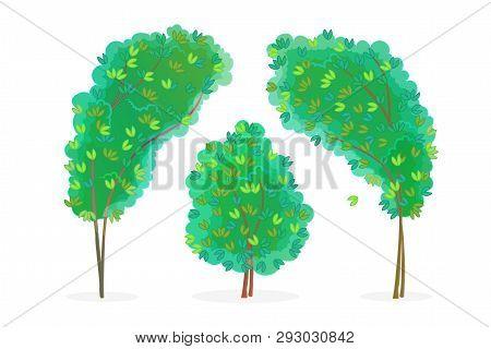 Vector Cartoon Plants Nature Clip Art. Spring Green Trees