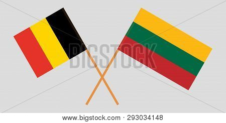 Belgium And Lithuania. The  Belgian And Lithuanian Flags. Official Colors. Correct Proportion. Vecto