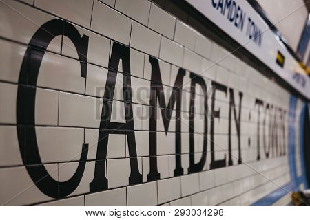 London, Uk - March 23, 2019: Station Name On The Platform Of Camden Town Underground Station. London